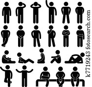 mann, einfach, haltung, leute, symbol, zeichen