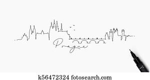 Pen line silhouette prague