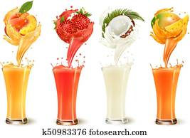 Set of fruit juice splash in a glass. Strawberry, peach, coconut and mango. Vector