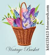 Vintage basket with flowers