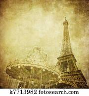 Vintage image of Eiffel tower, Paris, France