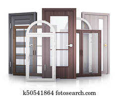 Windows and doors on white background