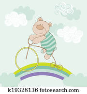 Baby Bear Riding Bike - Baby Shower Card - in vector