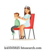 Boy On Medical Check-Up With Female Pediatrician Doctor Checking His Ears Doing Physical Examination For The Pre-School Health Inspection
