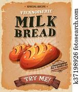 grunge, und, altmodisch, milch, Bread, plakat
