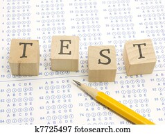Scantron TEST blocks and pencil.