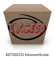 Excess Word Cardboard Box Overstock Too Much Supply Inventory