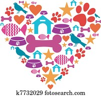 Love for pets icon collection