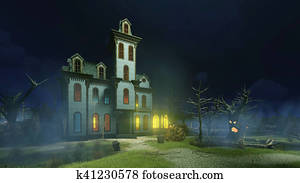 Old haunted mansion at misty night