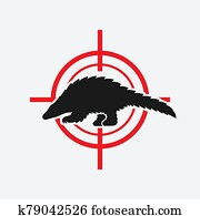 Pangolin black silhouette on red target