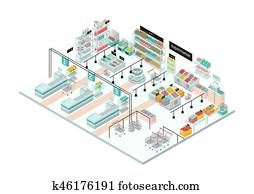 supermarkt, interior., lebensmittelgesch?ft, store., buntes, isometrisch, illustration.