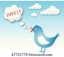 Twitter bird and text cloud with tweet