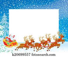 Border with a Sleigh of Santa
