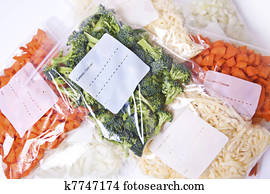 Chopped Vegetables and Cheese in Freezer Bags