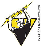electrician power lineman holding lighting bolt