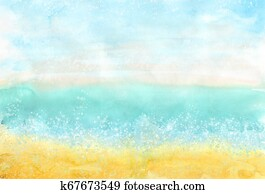 Watercolor horizontal colorful beach background for summer design