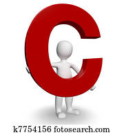 3D Human charcter holding red letter C