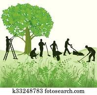 Gartenarbeit auf Wiese