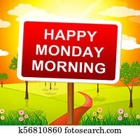 Happy Monday Blessings - Morning Motivation Quote - 3d Illustration