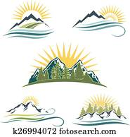 Mountain sunrise, nature icon set.
