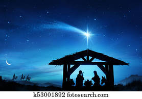 Nativity Scene With The Holy Family In Stable