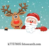 santa claus and rudolph deer