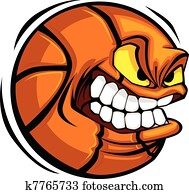 Basketball Face Cartoon Ball Vector