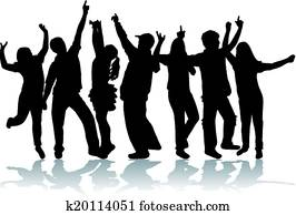 Dancing group people
