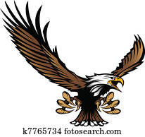 Eagle Mascot Flying with Talons