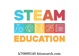 STEAM Education vector colored banner or illustration