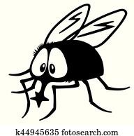 cartoon fly black white