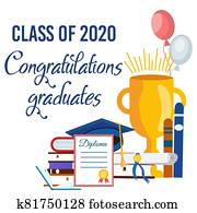 Congratulations Graduate. Lettering Class of 2020 for greeting, invitation card.