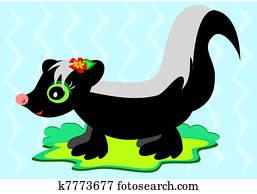 Cute Skunk with Flower