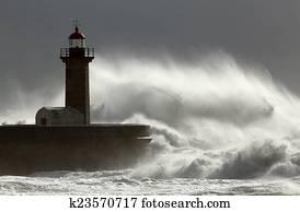 Huge windy wave