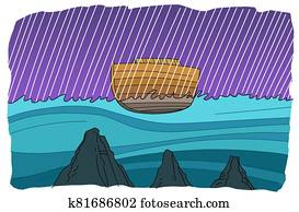Noah's ark floats during a global flood