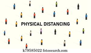 physical distancing crowd of people to avoid contact virus spread corona covid-19 virus