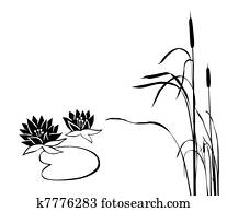 silhouette of the marsh plants on