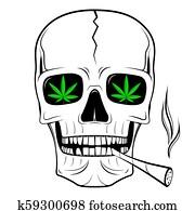 Skull illustration - smoking weed