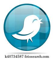 twitter blue round modern design internet icon on white background