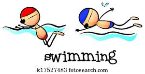 Two boys swimming
