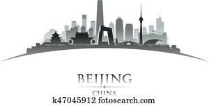Beijing China city skyline silhouette white background