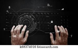 Hand working on computer keyboard. Computer programmer, software and web development technology