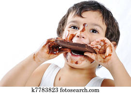 Kid with chocolate