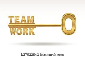 mannschaft- arbeit, -, goldenes, schlüssel