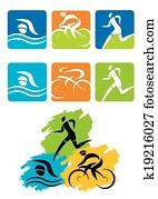 Triathlon icons buttons