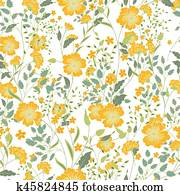 Vector vintage seamless floral pattern. Herbs and wild flowers.