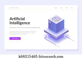 Artificial intelligence web template. The process of data processing. Large computing power. Developments in modern technologies.