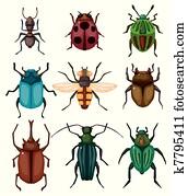 karikatur, insekt, wanze, symbol