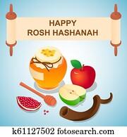 Sweet rosh hashanah concept background, isometric style