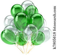 Green white party balloons classic